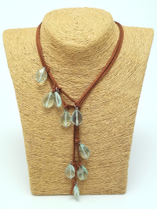Aqua Marine Quartz Lariat Leather Necklace