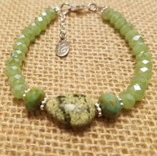 Green Crystal and Green Quartz Bracelet