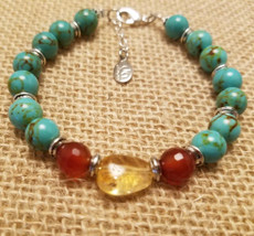Turquoise with Carnelian and Citrine Bracelet