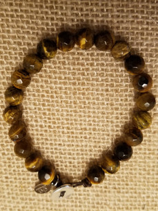 Tiger Eye (Silver Button Closure) Bracelet