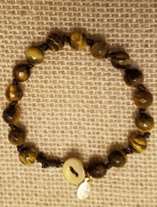 Tiger Eye (Gold Button Closure) Bracelet