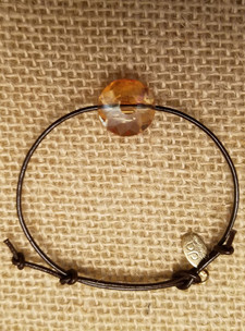 Amber Crystal Leather Bracelet