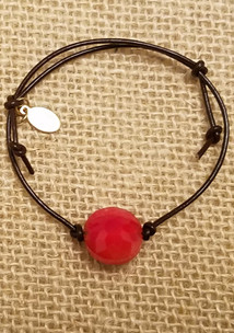 Red Agate Leather Bracelet