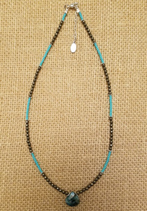 Blue Impression Jasper Drop Necklace