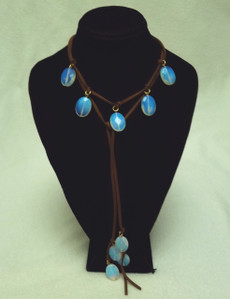 Opal Lariat Leather Necklace