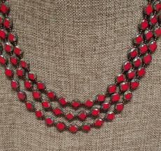 Triple Red Czech Glass Necklace