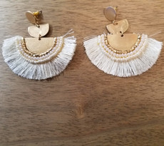 White Half Circle Tassel Earrings