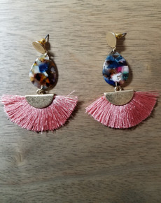 Pink Half Circle Multi-Color Teardrop Tassel Earrings