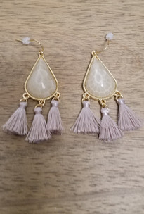 White Cream Teardrop Tassel Earrings
