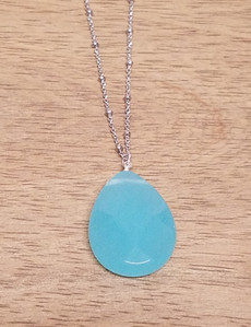 Large Blue Quartz Pendant Chain Necklace (Silver)