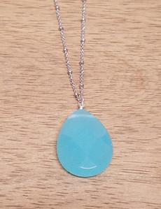 Large Blue Quartz Pendant Chain Necklace (Silver)