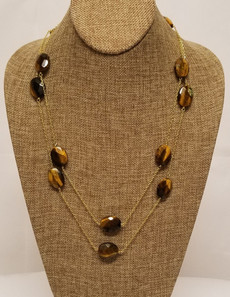Tiger Eye Long Chain (Gold)