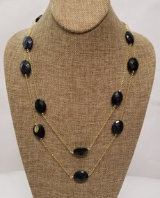 Blue Goldstone Long Chain (Gold)