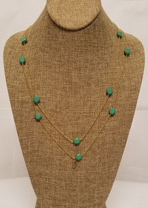 Turquoise Czech Glass Long Chain (Gold)