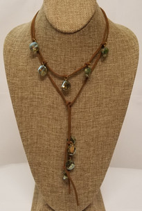 Green Crystal Lariat Leather Necklace