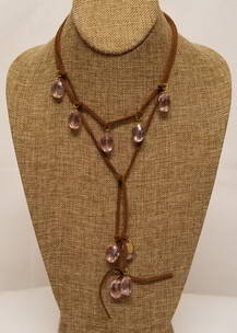 Pink Crystal Lariat Leather Necklace