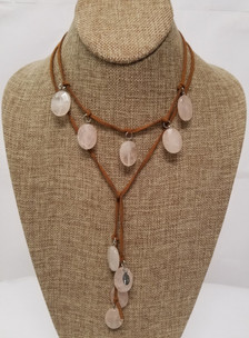 Rose Quartz Lariat Leather Necklace