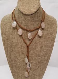 Rose Quartz Lariat Leather Necklace