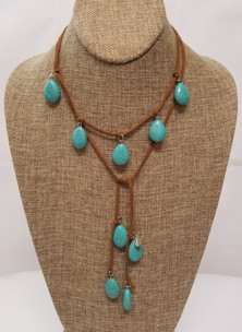 Turquoise Lariat Leather Necklace