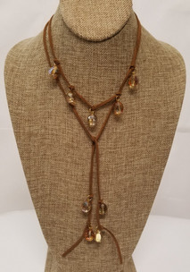 Light Brown Czech Glass Lariat Leather Necklace