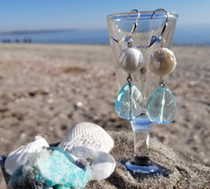 Aqua Quartz & Freshwater Pearl (Silver) Earrings
