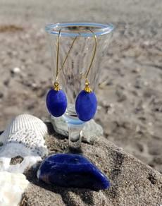 Wire Hoop & Blue Agate Earrings