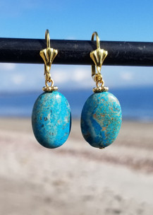 Large Turquoise Oval Earring (Gold)