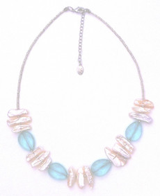 Aqua Quartz and Freshwater Pearl Necklace