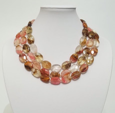Triple Multi-Color Brazilian Quartz Necklace