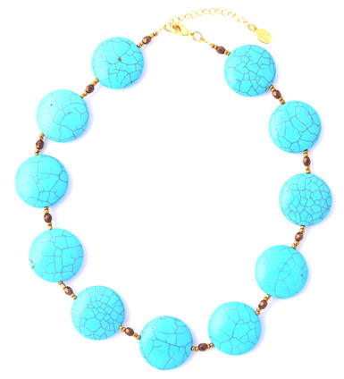 Turquoise Round Coin Necklace