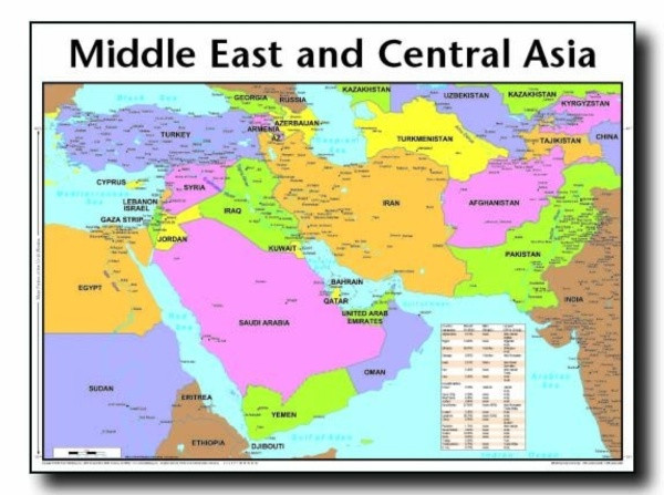Middle East And Central Asia Map Wall Chart Laminated Cei