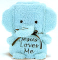 Jesus Loves Me Blue Elephant Blankie