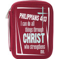 Bible Cover Red Knit Jersey Philippians 4:13 LG