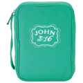 Bible Case LG Teal Canvas Cloth John 3:16