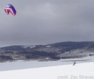 Snowkiting on the slopes of Utah.