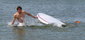Stand Up Paddleboarding - falling in