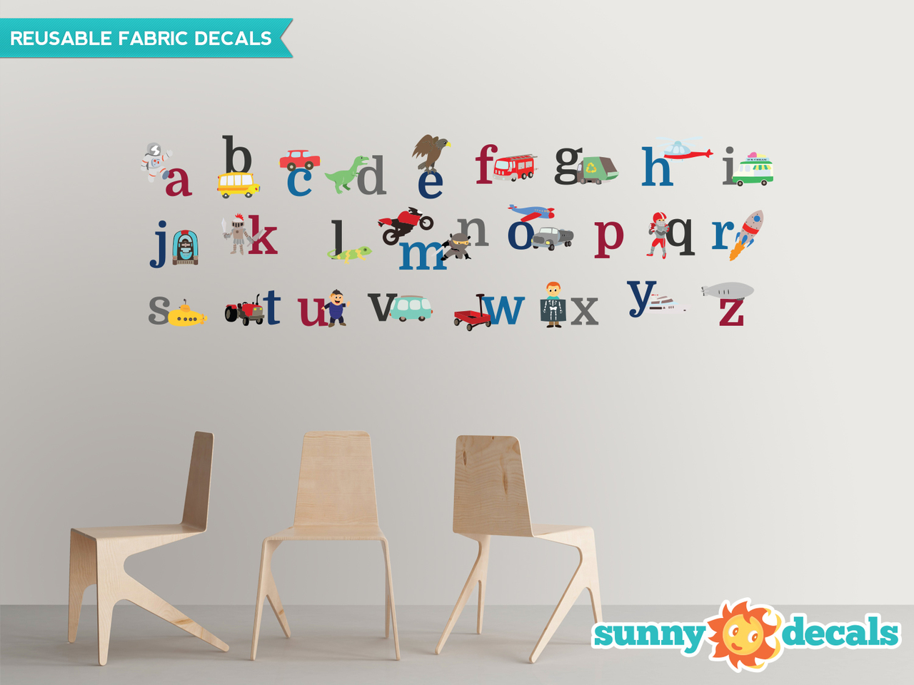 Alphabet Fabric Wall Decals for Boys - 3 Options