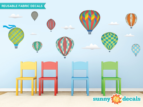 Hot Air Balloons Fabric Wall Decals   Three Color Options And Sizes   Sunny  Decals