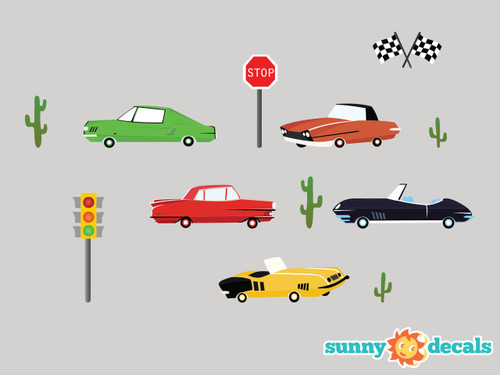 Vintage cars fabric wall decals - Detailed - Sunny Decals