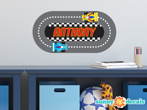 Racing Track with Custom Name Fabric Wall Decal - Sunny Decals