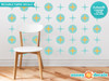 Retro Circles and Stars Fabric Wall Decals - Mid Century Modern - Sunny Decals