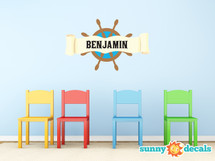 Pirate Ship Wheel with Custom Name Fabric Wall Decal - Sunny Decals