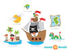 Pirates Fabric Wall Decal with Captain Jack, Ship, Treasure Map, Sun, Kraken, Treasure Island - Detailed - Sunny Decals