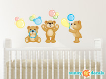 Teddy Bears Fabric Wall Decals, Set of Three Adorable Bears Blowing Bubbles - Sunny Decals