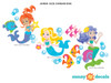 Mermaid Fabric Wall Decals, Under the Sea Theme - Jumbo Sized - Detailed - Sunny Decals