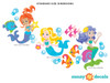 Mermaid Fabric Wall Decals, Under the Sea Theme - Standard Sized - Detailed - Sunny Decals