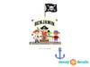 Pirate Ship with Custom Name Fabric Wall Decal - Detailed - Sunny Decals
