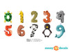 Animal Numbers Fabric Wall Decals, Colorful Numbers from 0 to 9 - Detailed - Sunny Decals