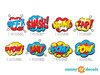 Superhero Fabric Wall Decals, Set of 8 Comic Book Word Bursts - Detailed - Sunny Decals