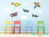 Vintage Airplane Fabric Wall Decals, Set of 5 Planes with Clouds - Sunny Decals